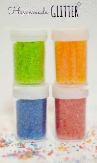 Homemade Glitter Recipe- fun to make and kids feel such a sense of of pride when using craft materials they made themselves!