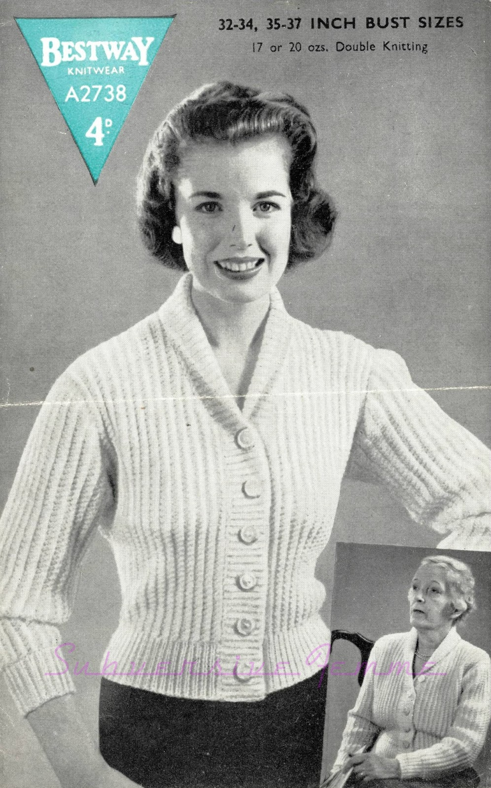 Free Vintage Knitting Patterns 1950s : The Vintage Pattern Files: 1950s Knitting - Fisherman-Knit Cardigan