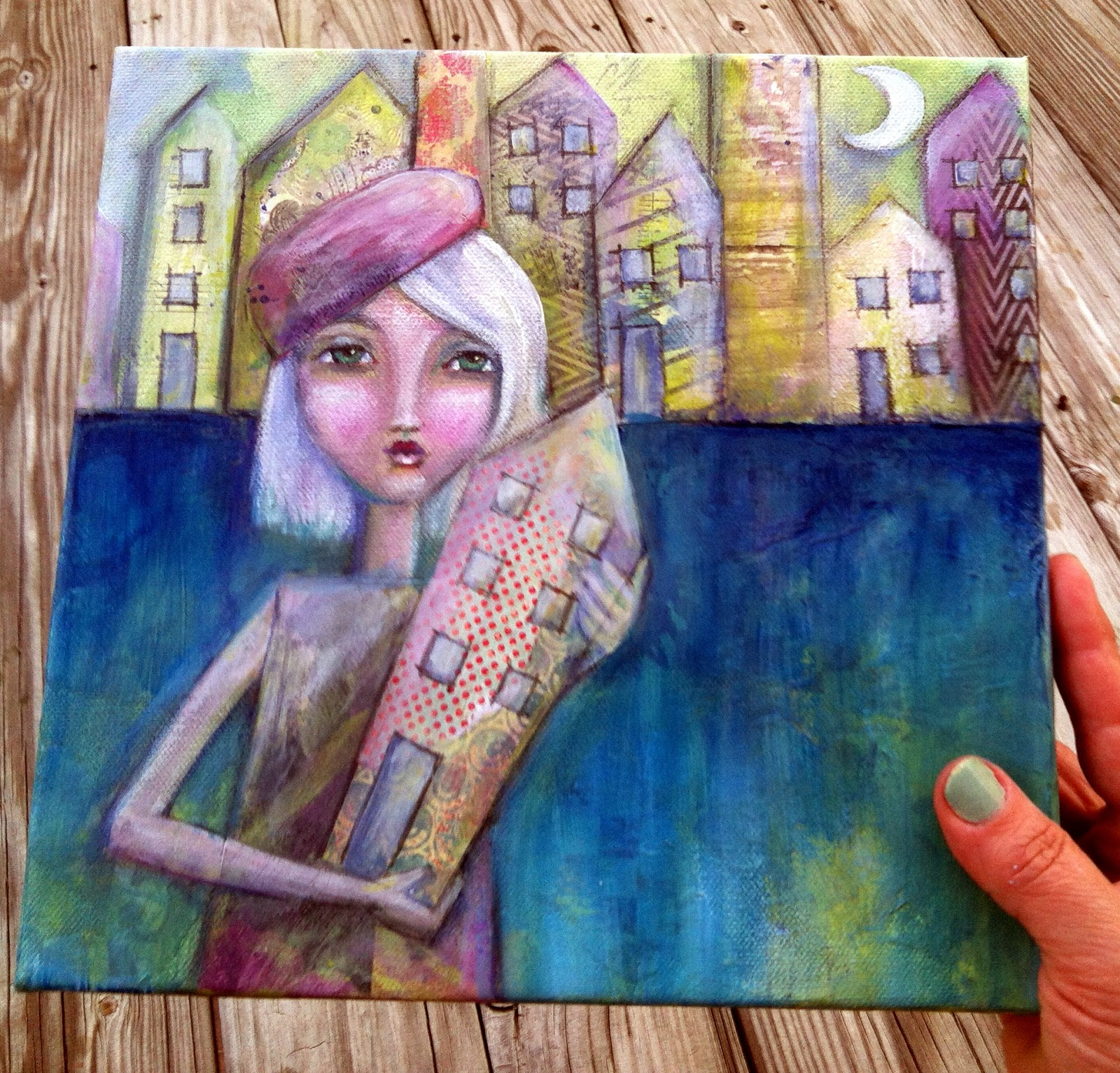 "Mixed Media Painting ""Holding Tight to Home"""
