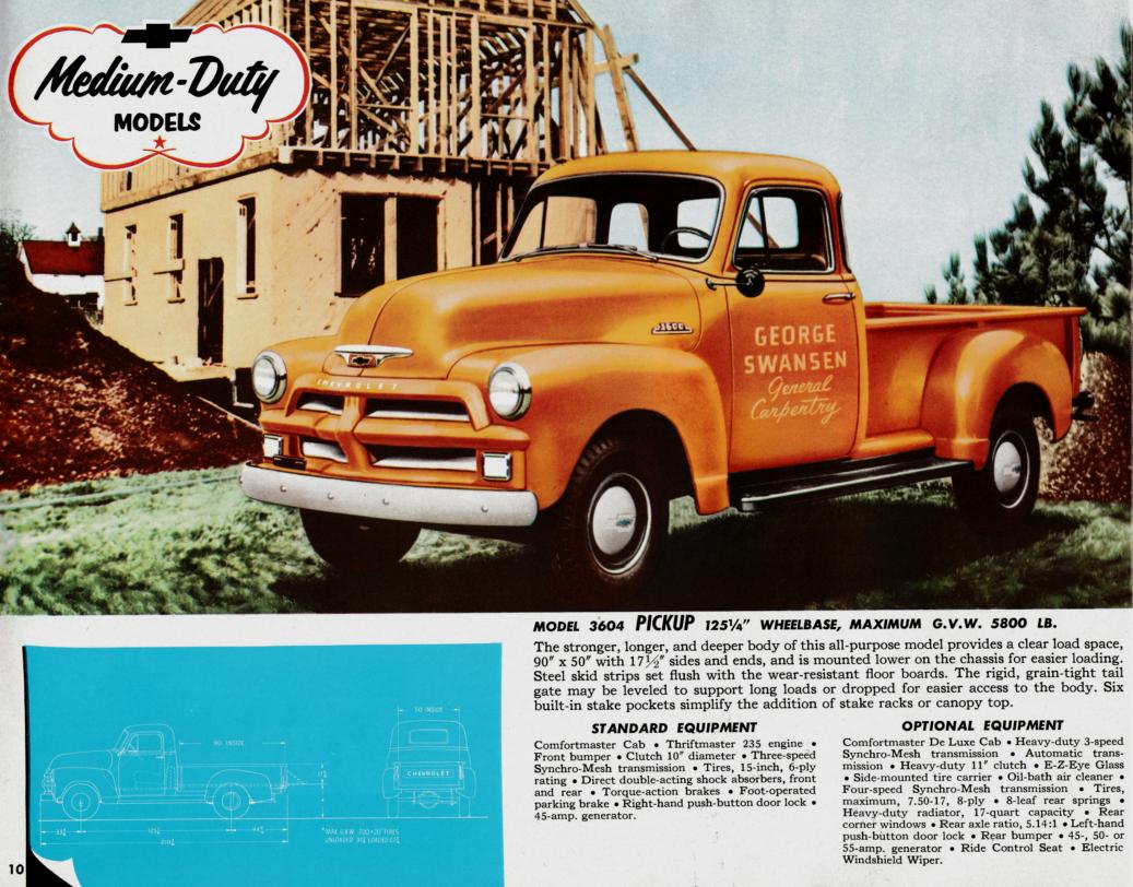 1954 chevrolet trucks brochure medium duty