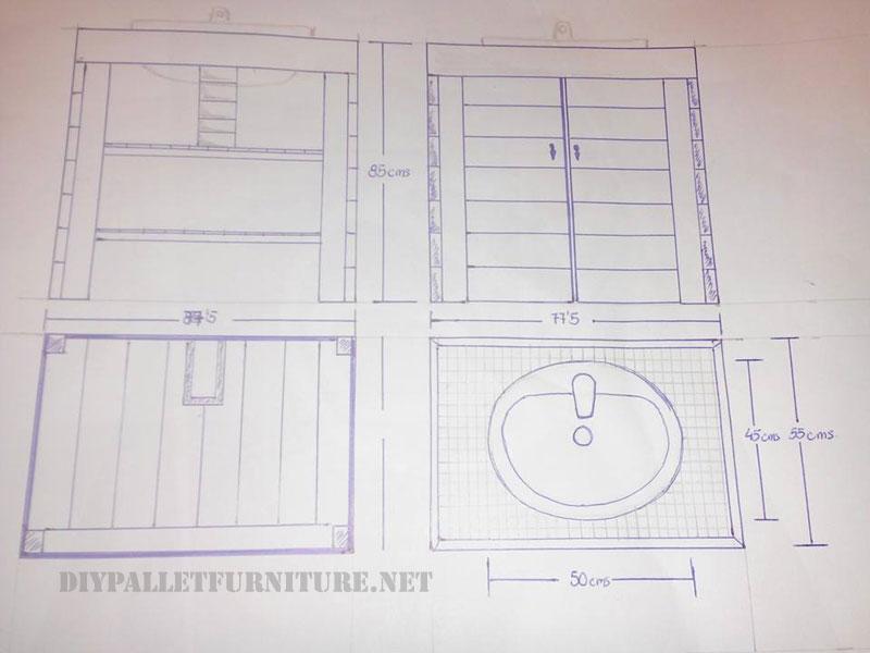Mueble para el lavamanos del ba o con for Muebles con palets planos