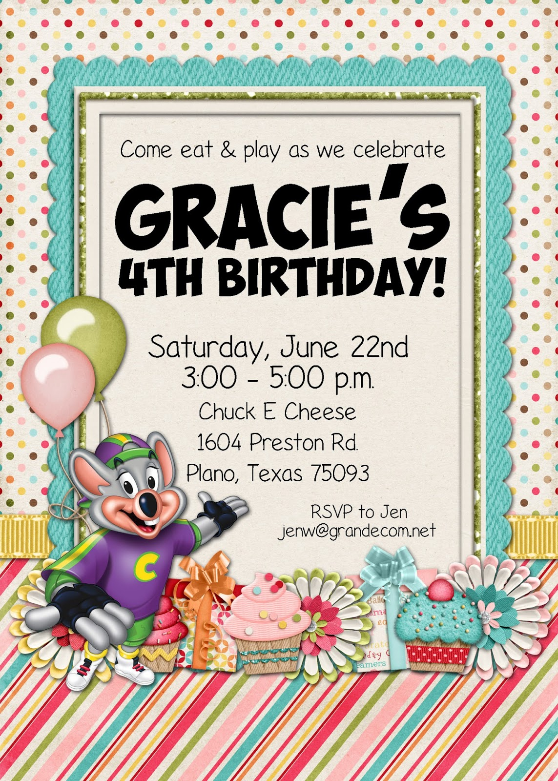 Slightly Askew Designs Chuck E Cheese Party - Chuck e cheese birthday invitation template