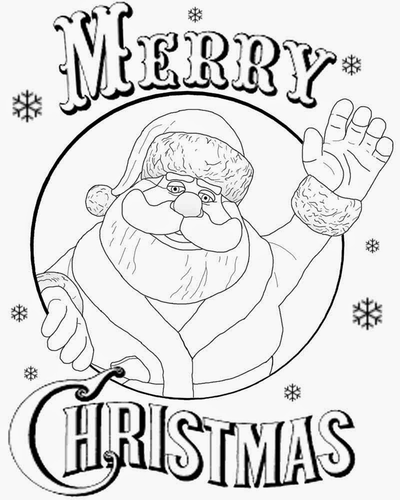 Free Actives Merry Christmas Coloring Pages For Teenagers Xmas Santa Claus Clipart Black And White