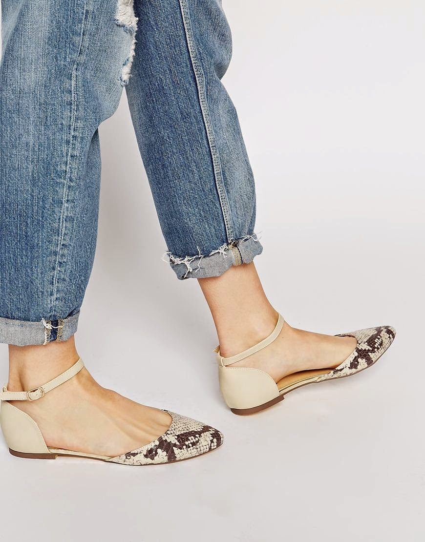 oasis snake print shoes, oasis cream flat shoes, snake print flats,
