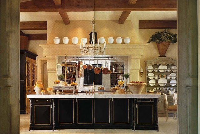 This Creamy Colored Kitchen Gets Drama From The Dark Wood Beams Countertop And Window Trim From One Posh Place