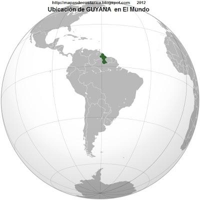 Ubicación de GUYANA en El Mundo, wikipedia