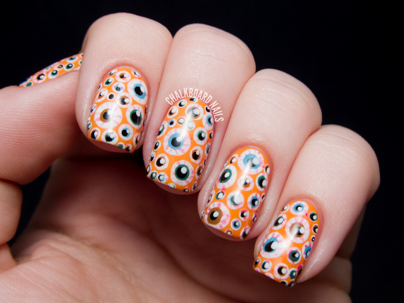Over the top eyeball nails halloween nail art chalkboard nails i chose to go with an orange base this year and be a little more on the nose with the halloween theming the base i used is opi in my back prinsesfo Choice Image