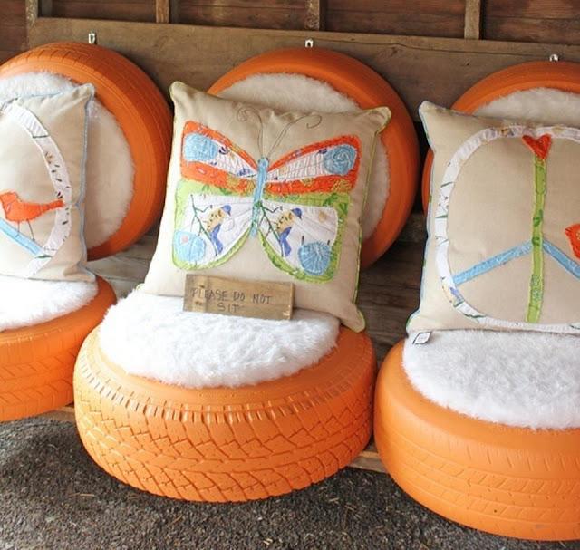 Sill n con neum ticos viejos aibl ideas para decorar for Pisos en silla de bancos