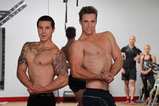 L-R: Bradley Cook, Shaun Simpson, bodybuilders strutting their stuff at Snap Fitness, Napier, preparing for this weekend's Mr Waimarama competition at Waimarama Beach Day, at Waimarama. photograph