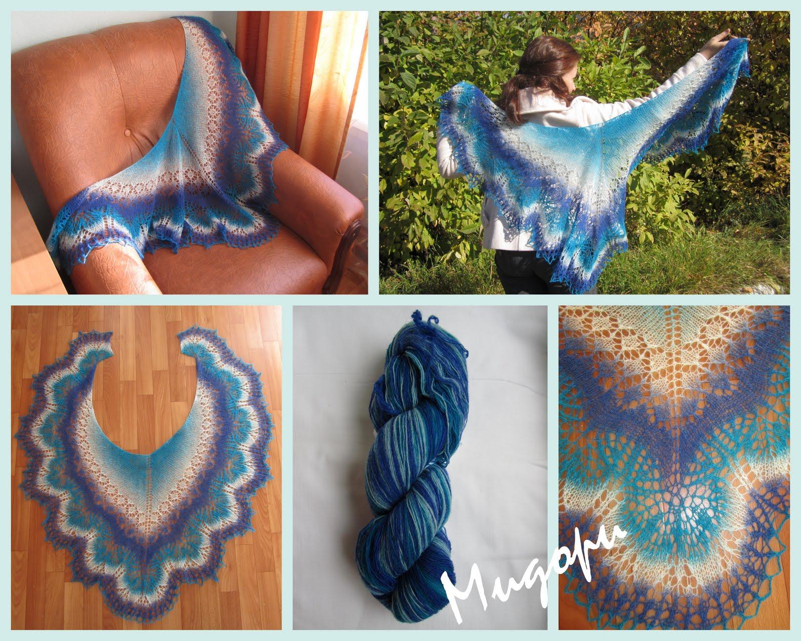 Юль, если тебя такой расцветки шаль устроит, то вот такую легко.  А если нужна именно белая и с голубой каймой...