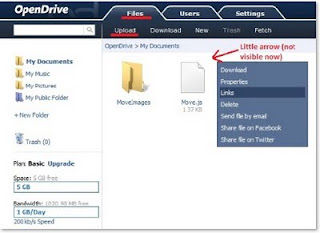 OpenDrive user interface, marked Files tab, Upload link, little arrow in upper right corner of file, showed context menu when a little arrow is clicked