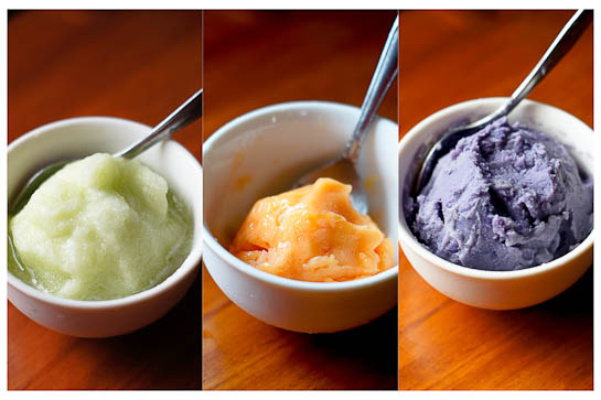 Yonanas Honeydew, Papaya, Sweet Potato Sorbets | thumb in plum