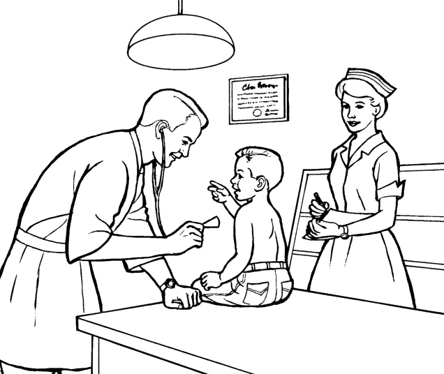 Doctors Hospitals Coloring Page Sheets   Family, People and Jobs ...