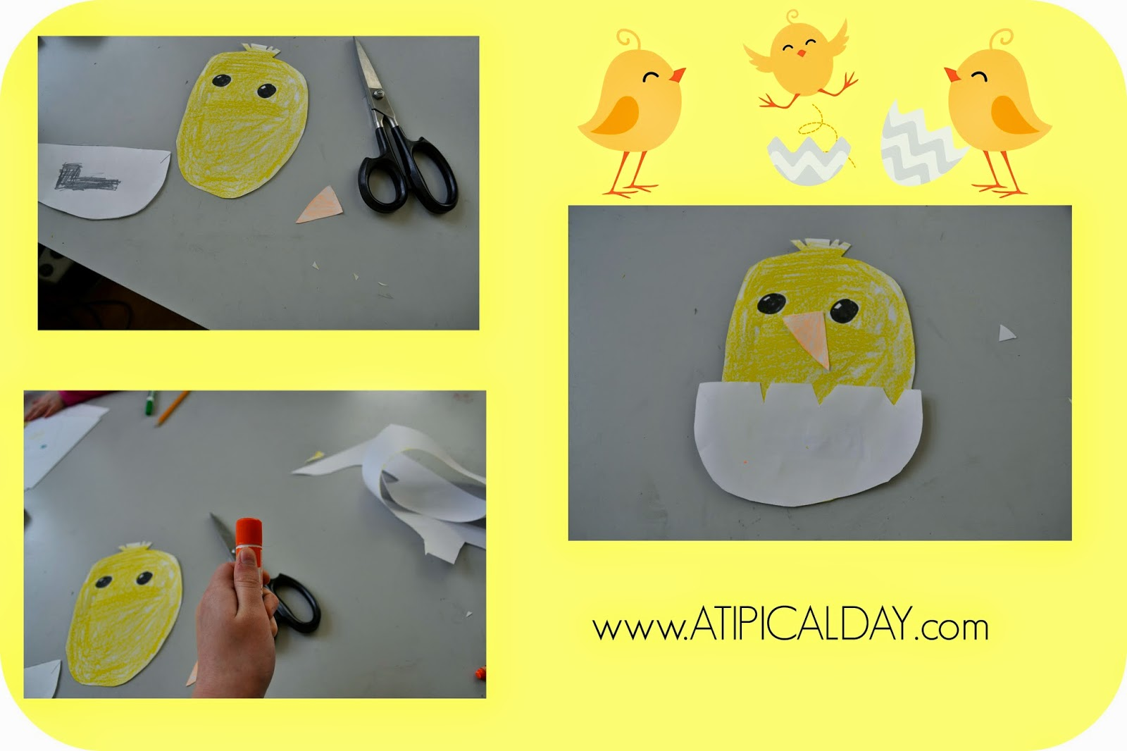 collage of a baby chick child's craft project