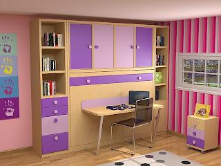 dormitorio cama abatible horizontal con armario y escritorio