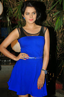 Tia Bajpai In Blue Short Dress At Film Rang Rasiya Promotions In Mumbai