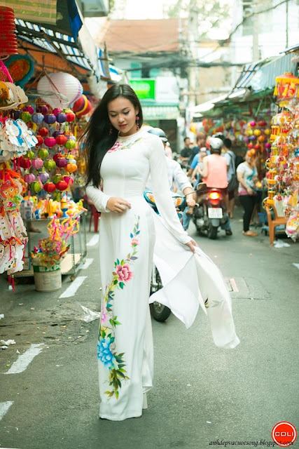 Ảnh đẹp áo dài dạo phố đèn lồng Lương Nhữ Học