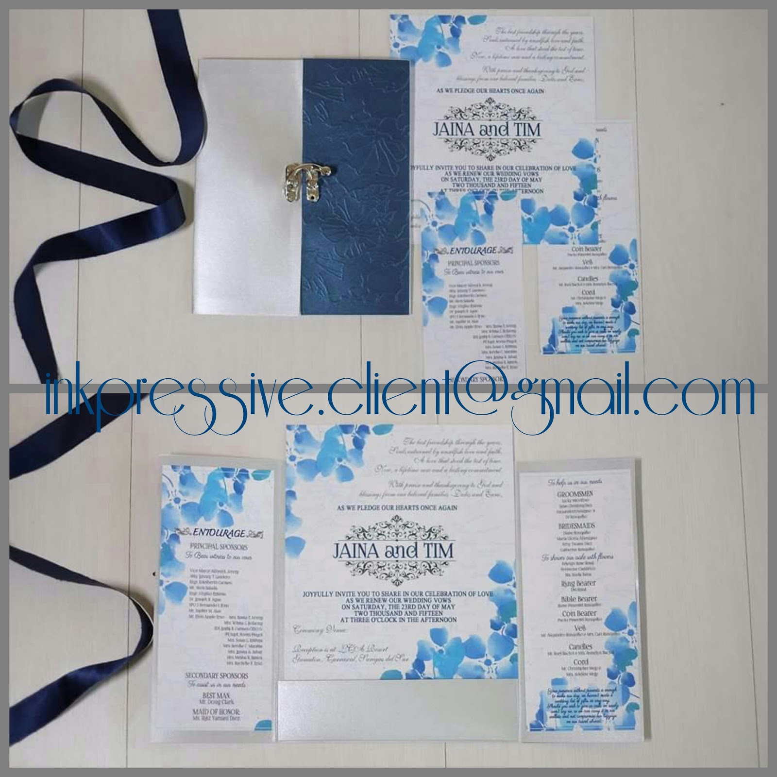 Locked Wedding Invitation ~ Blue and Silver | WEDDING INVITATIONS
