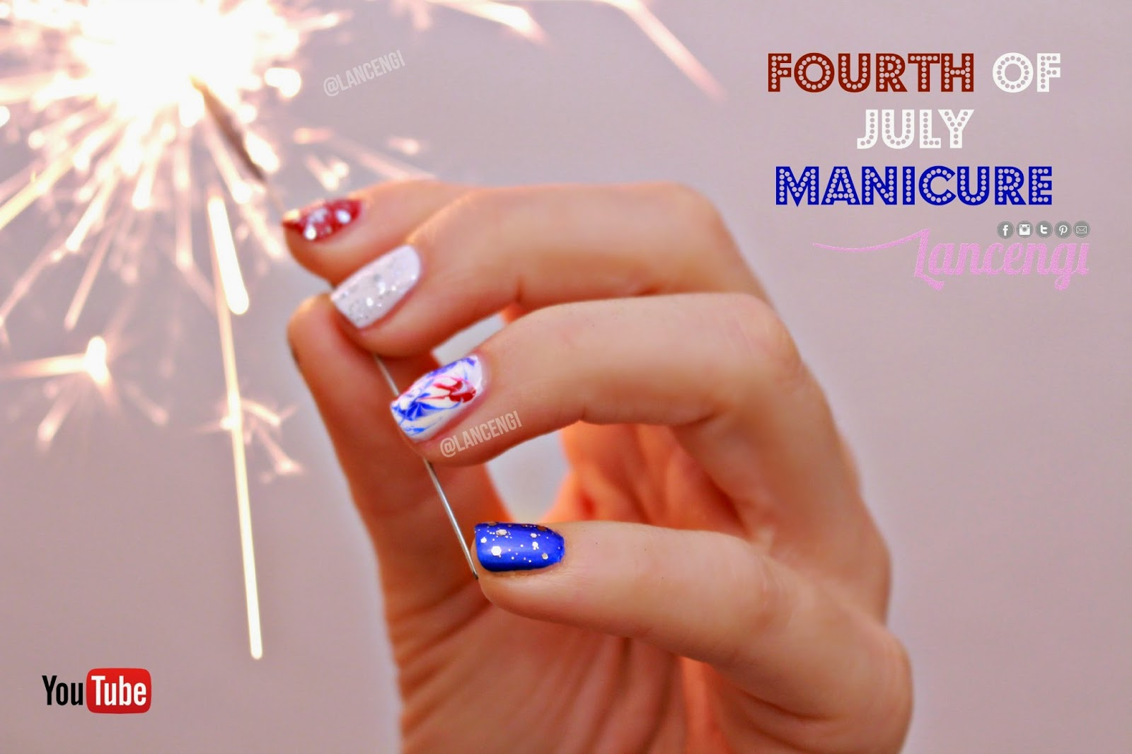 Lancengi Easy Nail Art For Short Nails Firework Patriotic Nail