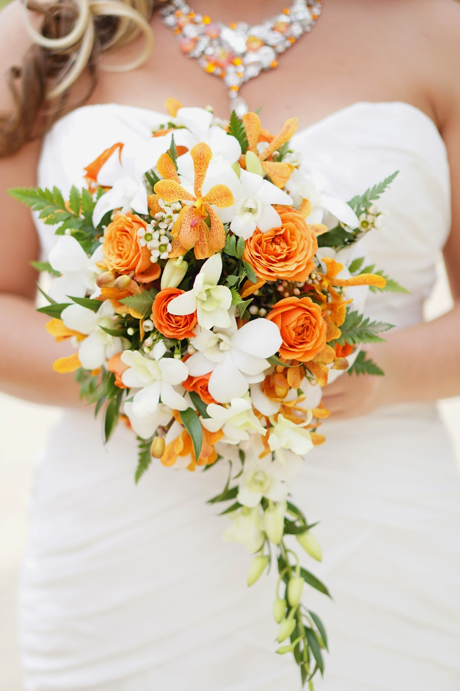 Hawaii wedding flowers orange orchid bouquet hawaiian bridal flowers izmirmasajfo