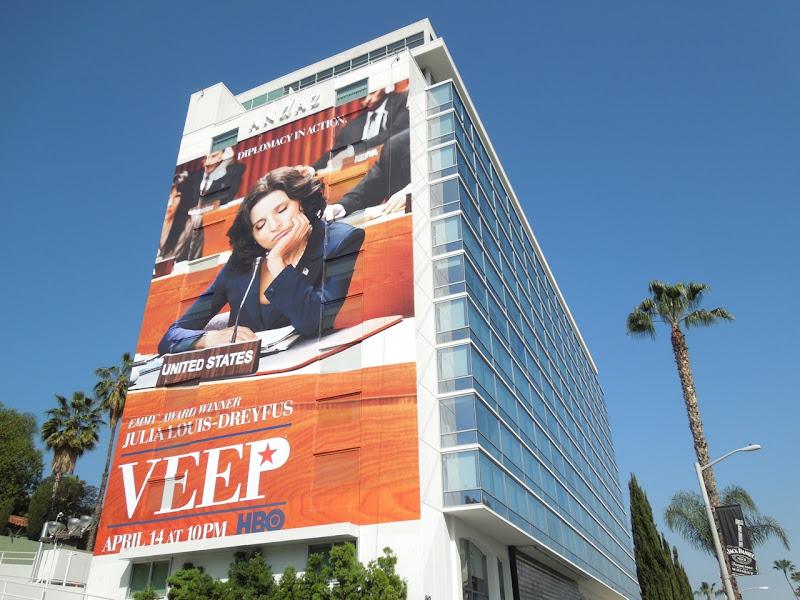 Giant Veep season 2 billboard Sunset Strip