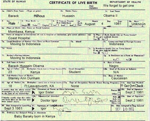 kenyan birth certificate obama. he was born in Kenya,