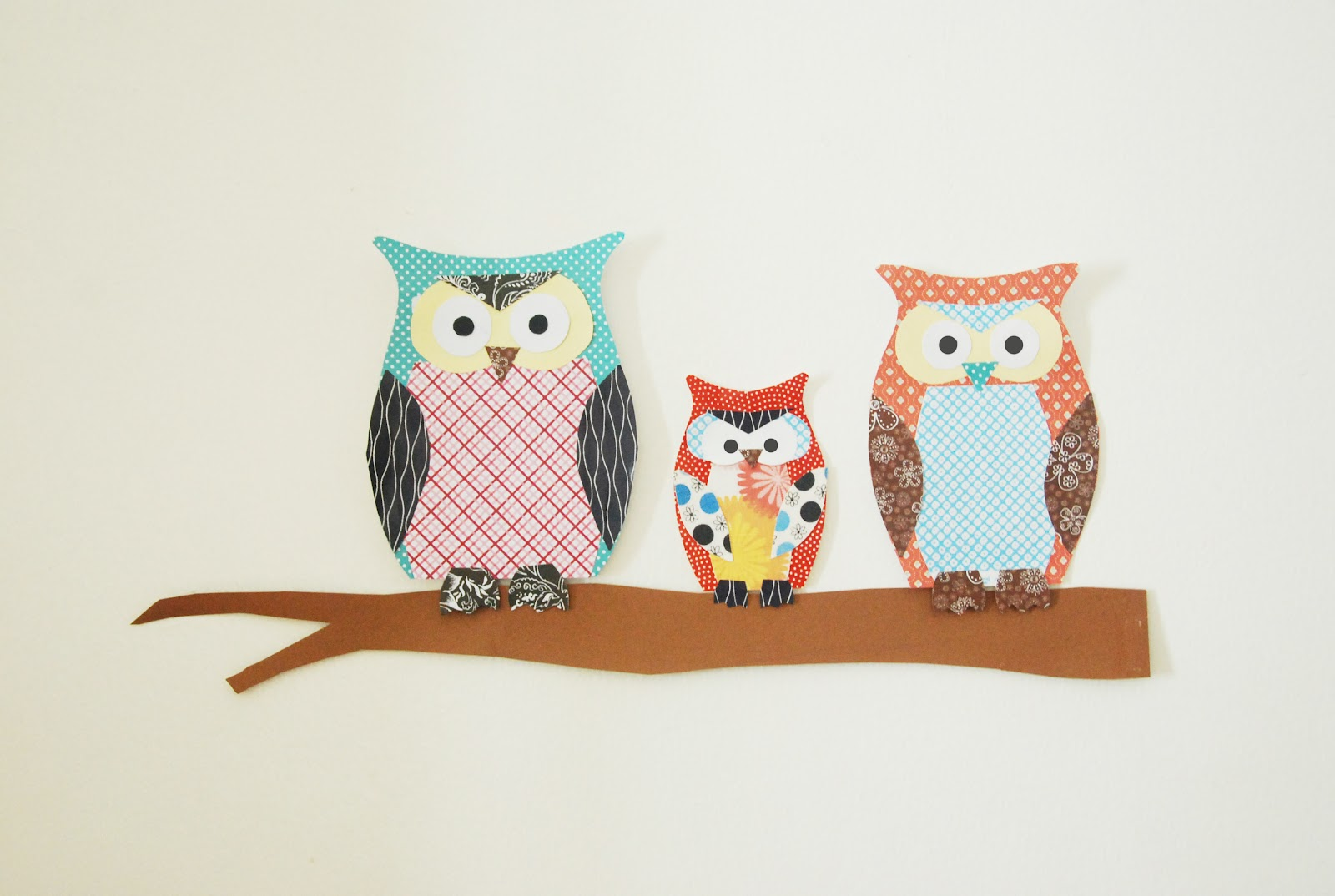 owl paper Use different sized paper tubes to make tall and short owls.