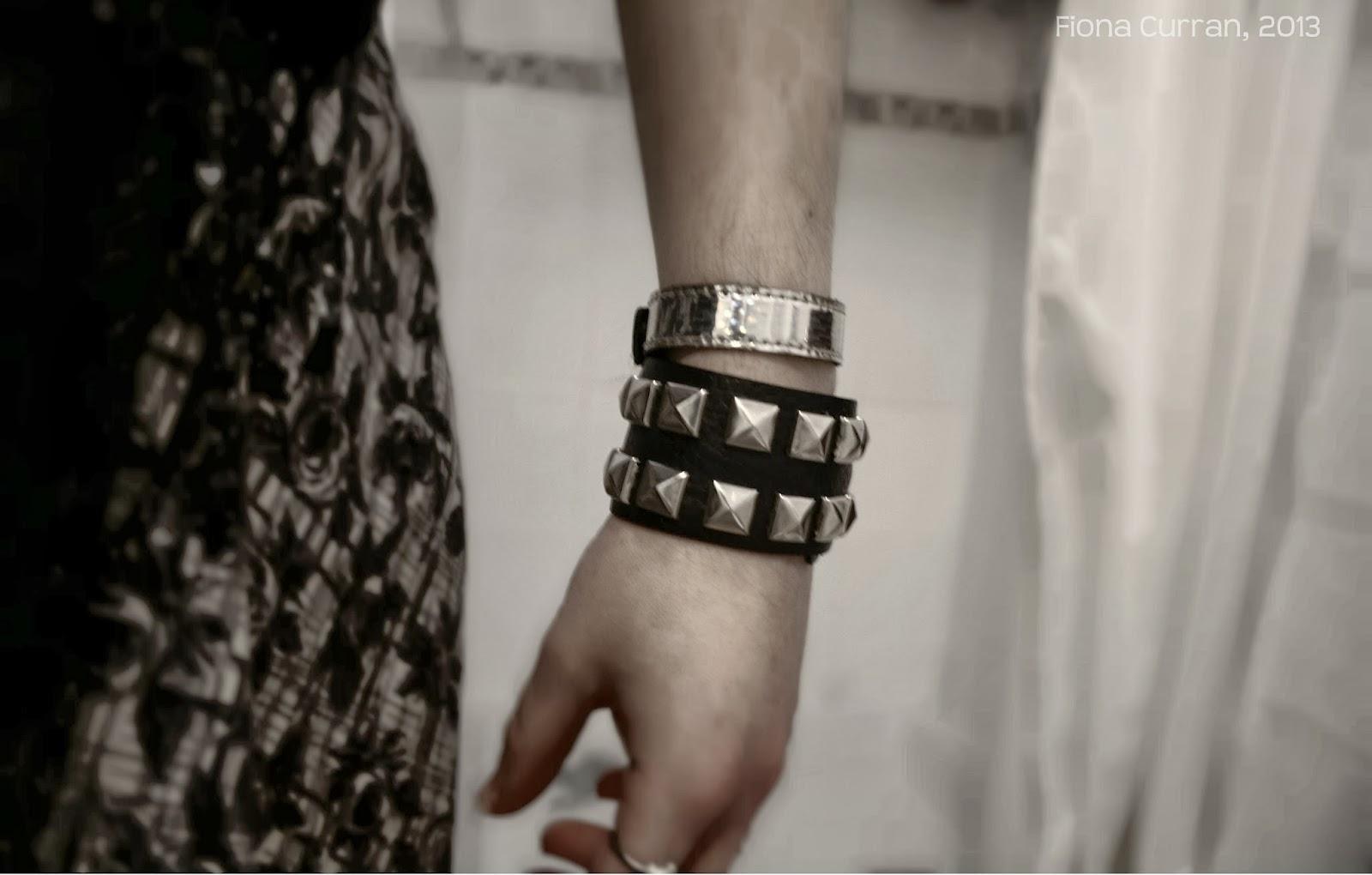Studded, cuff, bracelet, goth