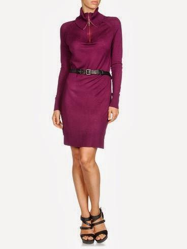 lila renk kemerli yakalı elbise