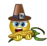 Smiley eating corn
