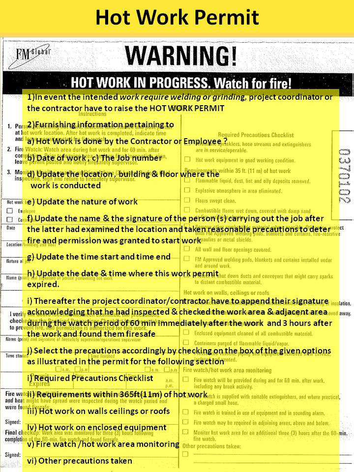 Workplace safety and health resources workplace safety and for Hot work permit template free