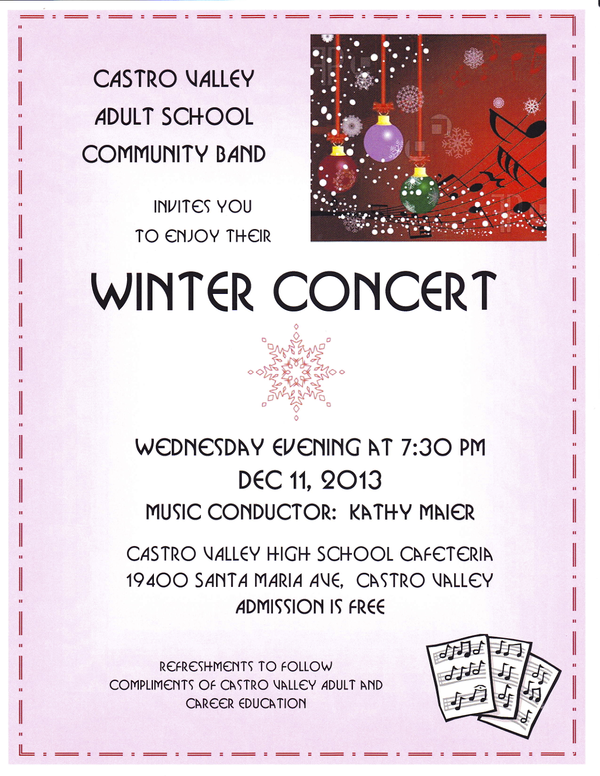 castro valley community band flyer for our concert please note that we are playing in the castro valley high school cafeteria and not in the center for the arts