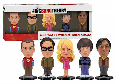"The Big Bang Theory Mini Bobble Head Box Set by Funko - Jim Parsons as Sheldon Cooper, Johnny Galecki as Leonard Hofstadter, Kaley Cuoco as Penny, Simon Helberg as Howard Wolowitz & Kunal Nayyar as Rajesh ""Raj"" Koothrappali"