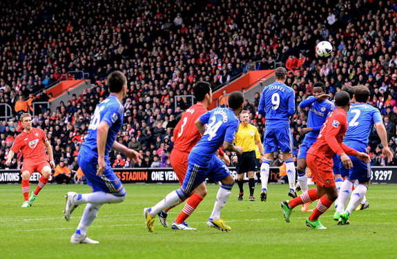 Everton player Kevin Mirallas scores the winning goal against Stoke City