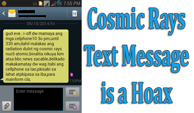 Cosmic Rays Text Message is a Hoax
