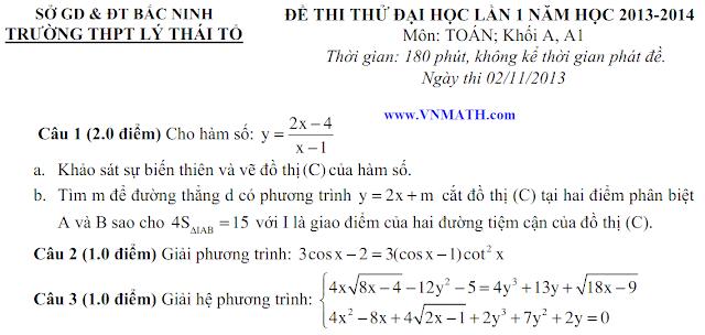 Đề thi thử môn Toán của THPT Lý Thái Tổ Bắc Ninh 2014