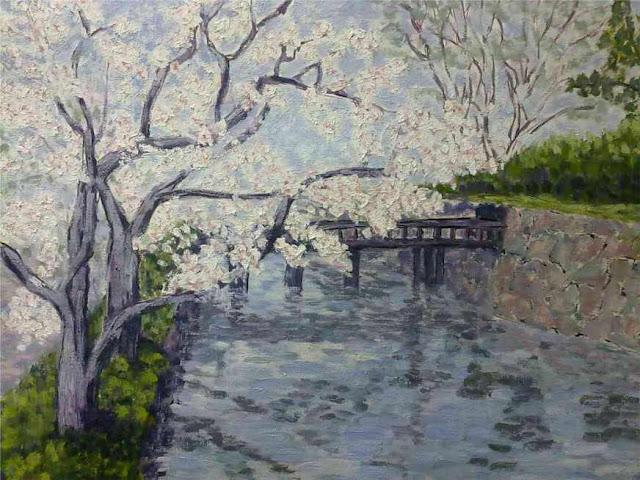 cuadro de un cerezo en flor japones