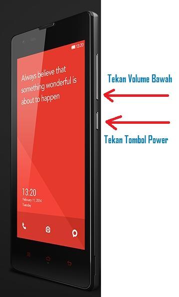 Cara Pertama Screenshot Layar Xiaomi Redmi 1S