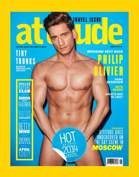 Philip Olivier Naked on Attitude Magazine Cover