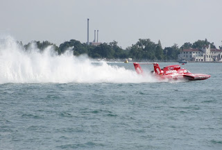 Hydroplane boat on Detroit River