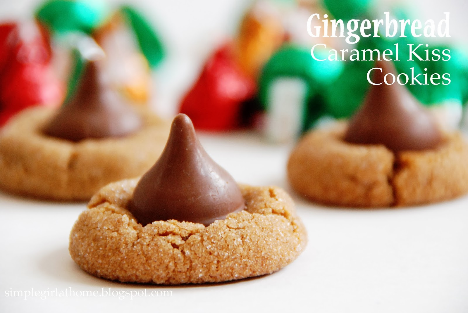 Simple Girl: Gingerbread Caramel Kiss Cookies (2-Ingredients!)