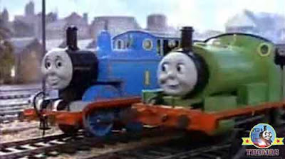 Freight transport yard Annie and Clarabel coaches Thomas the tank engine Percy the train runs away