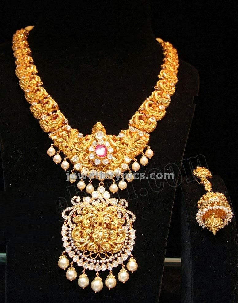 tibarumal jewellers temple nakshi work flat diamond studded necklace