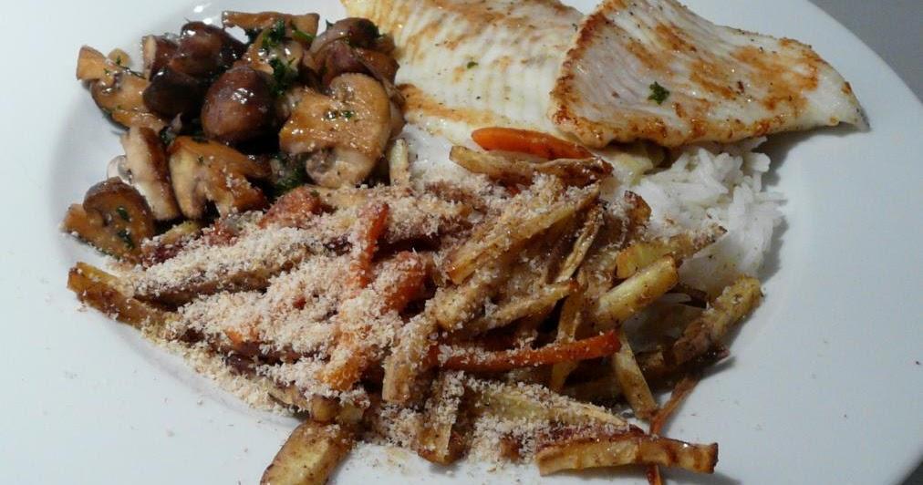 Steinbutt und Champignons mit an Honig und Senf geschmorten Pastinaken