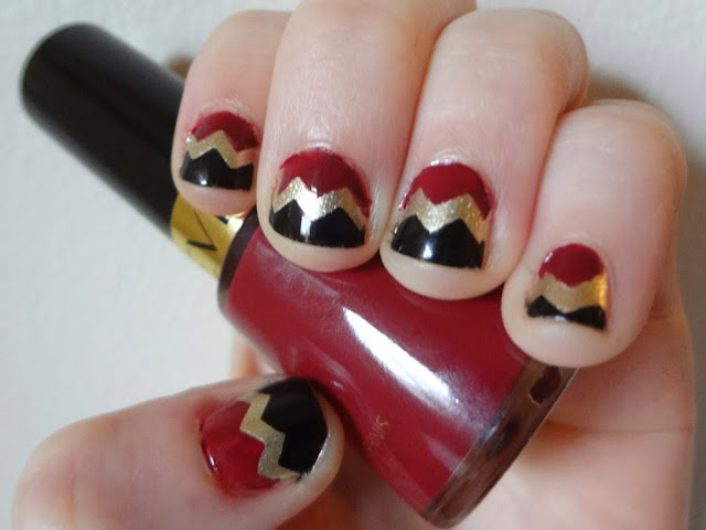 aka Bailey, Chevron nails, burgundy, gold, black, nail polish, Revlon