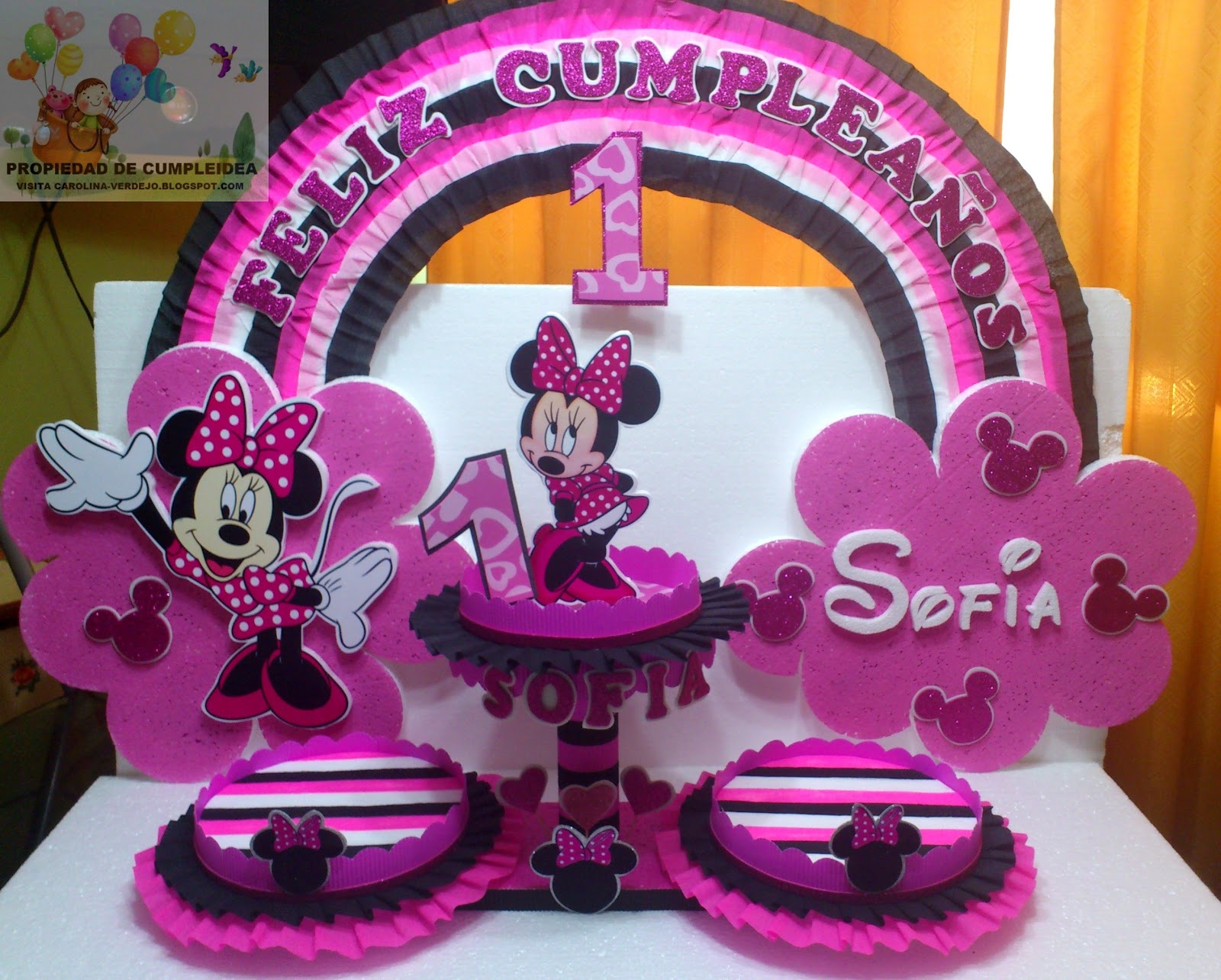 Decoracion Minnie Fucsia ~ DECORACIONES INFANTILES minnie fucsia y negro