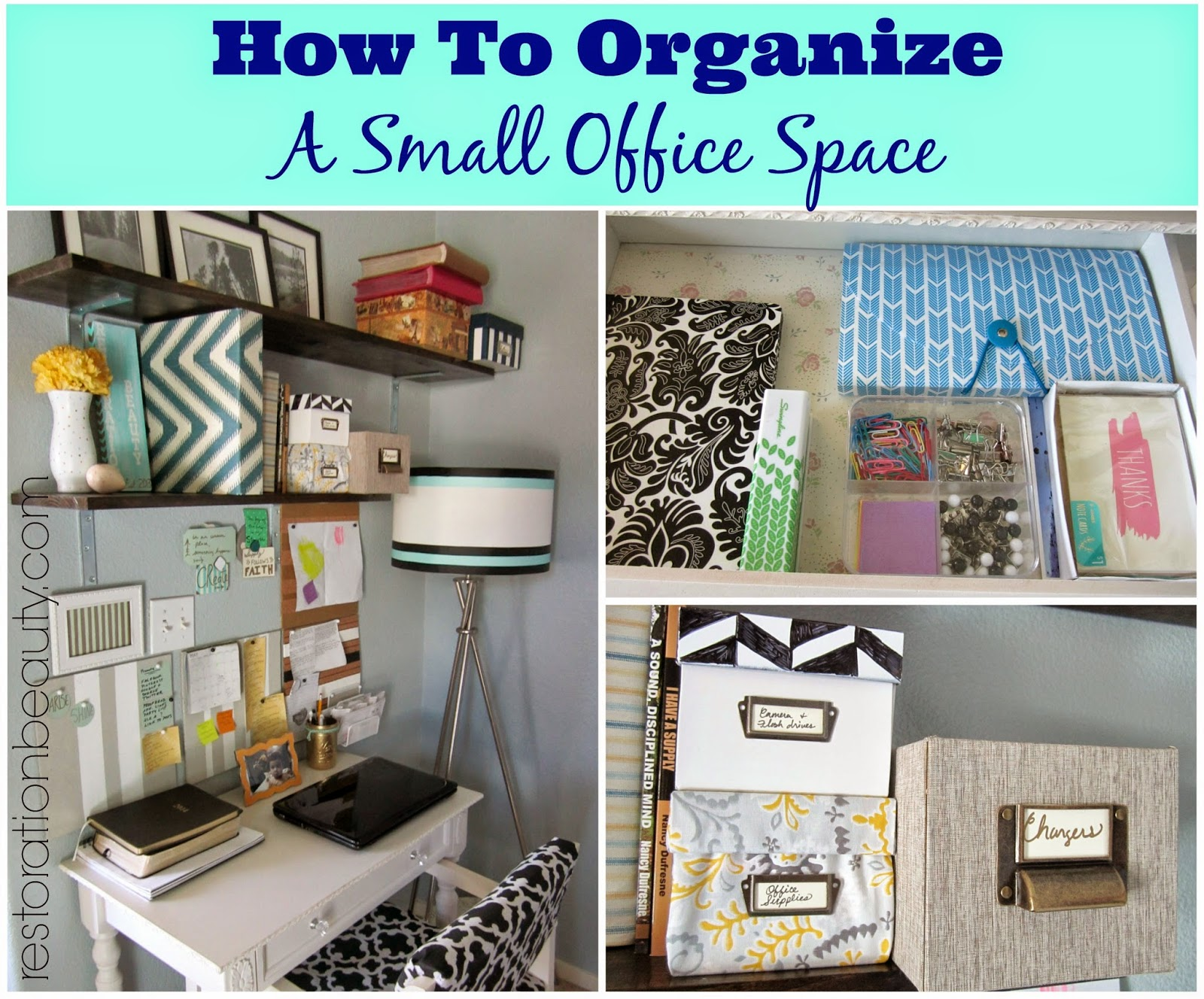 6 Organizing Tricks to Steal From This Teeny Office The constrains of a small space lead to some creative storage solutions.