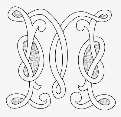 M Celtic calligraphy monogram tattoo stencil