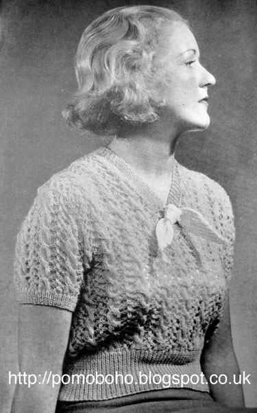 Free 1930's Knitting pattern for the  Monarch Ladies lacy Blouse