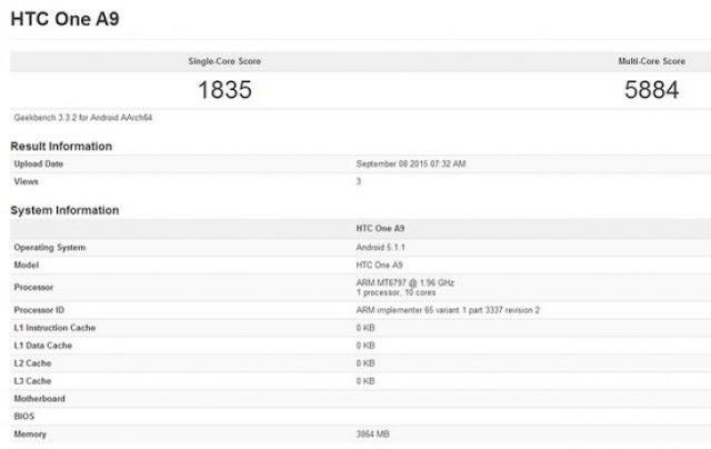 HTC One A9 akan mengacu dengan 10-core CPU dan RAM 4GB
